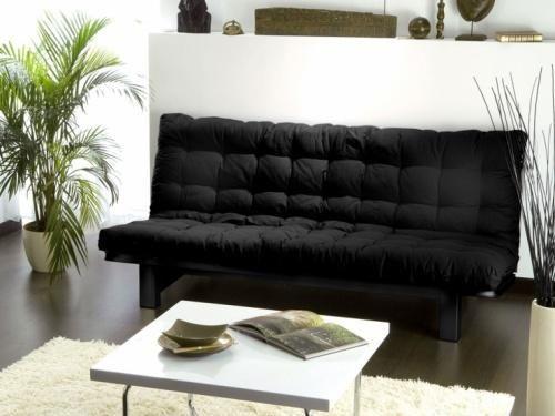 Matelas futon 135 x 190 cm noir dos enveloppant - Matelas futon pour banquette ...