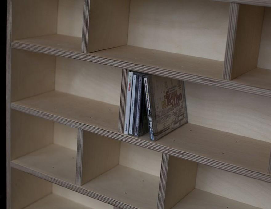 etag re cd enti rement laqu e biblioth que sur mesure. Black Bedroom Furniture Sets. Home Design Ideas