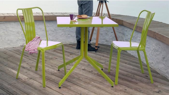 Ensemble urban 1 table 2 chaises en aluminium lime - Salle à ...