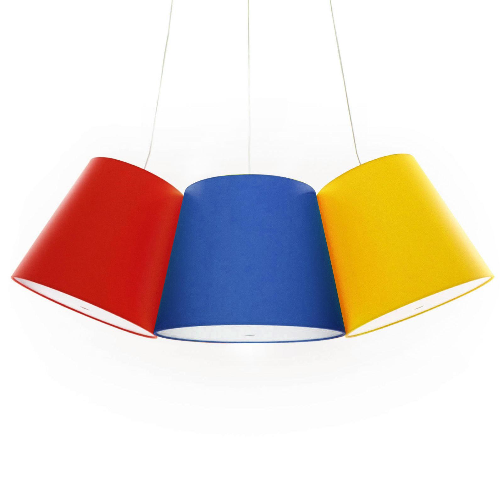 cluster suspension 3 abat jours rouge bleu jaune. Black Bedroom Furniture Sets. Home Design Ideas