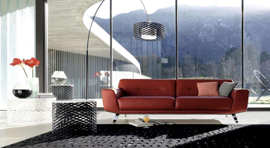 perle 2 canap 3 places rouge cuir roche bobois. Black Bedroom Furniture Sets. Home Design Ideas