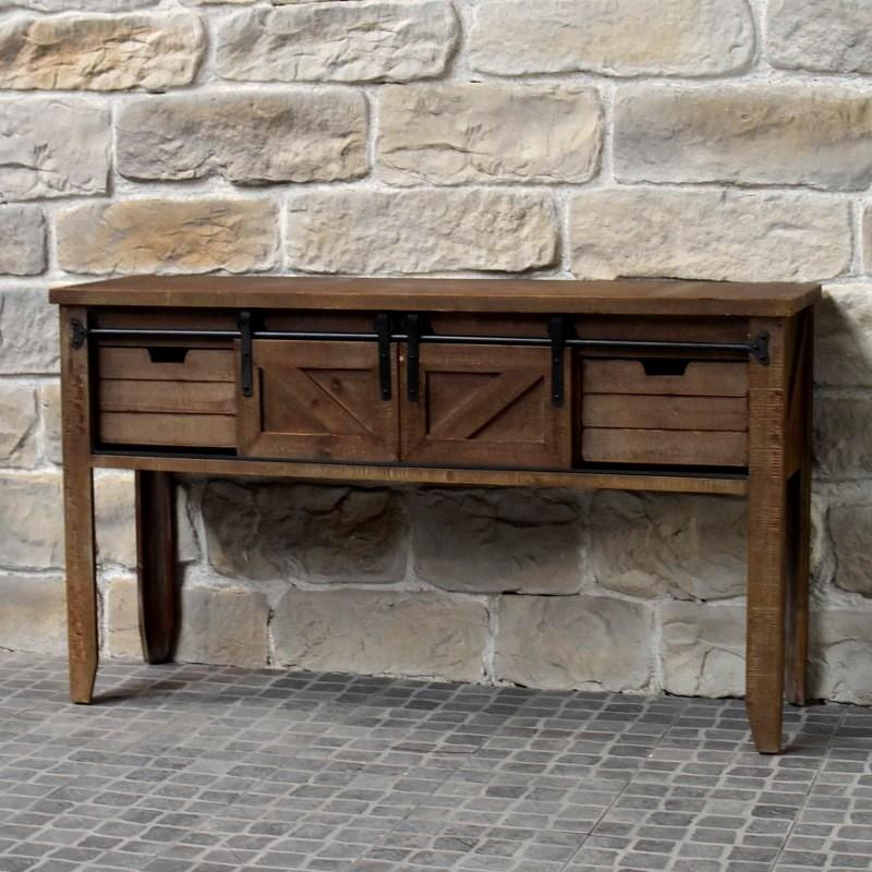 Meuble console table de drapier industriel bois fe table for Table de campagne en bois