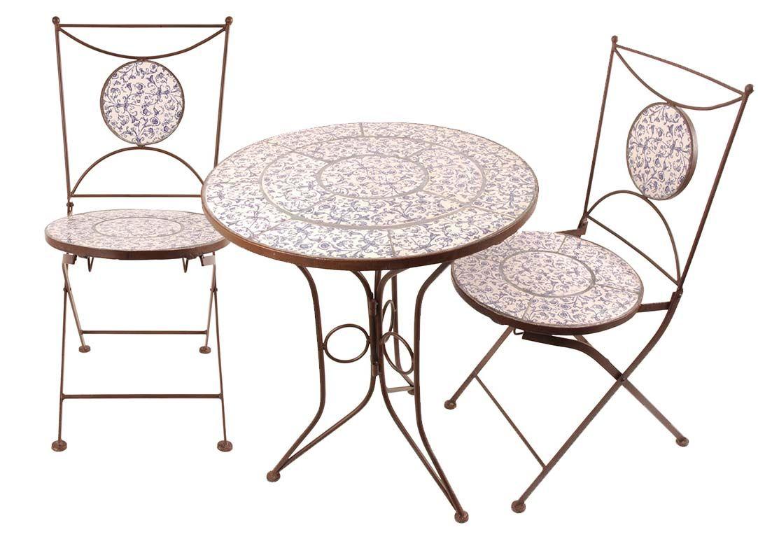 Table et chaises jardin fer forg c ramique 2 pers salon - Chaise en fer forge pour jardin ...