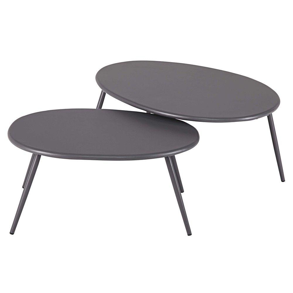 Tables gigognes de jardin en métal gris LumpaTable d\'appoint ...