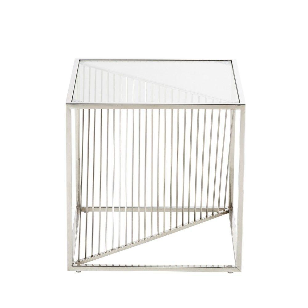 bout de canap en verre et m tal chrom bout de canap. Black Bedroom Furniture Sets. Home Design Ideas