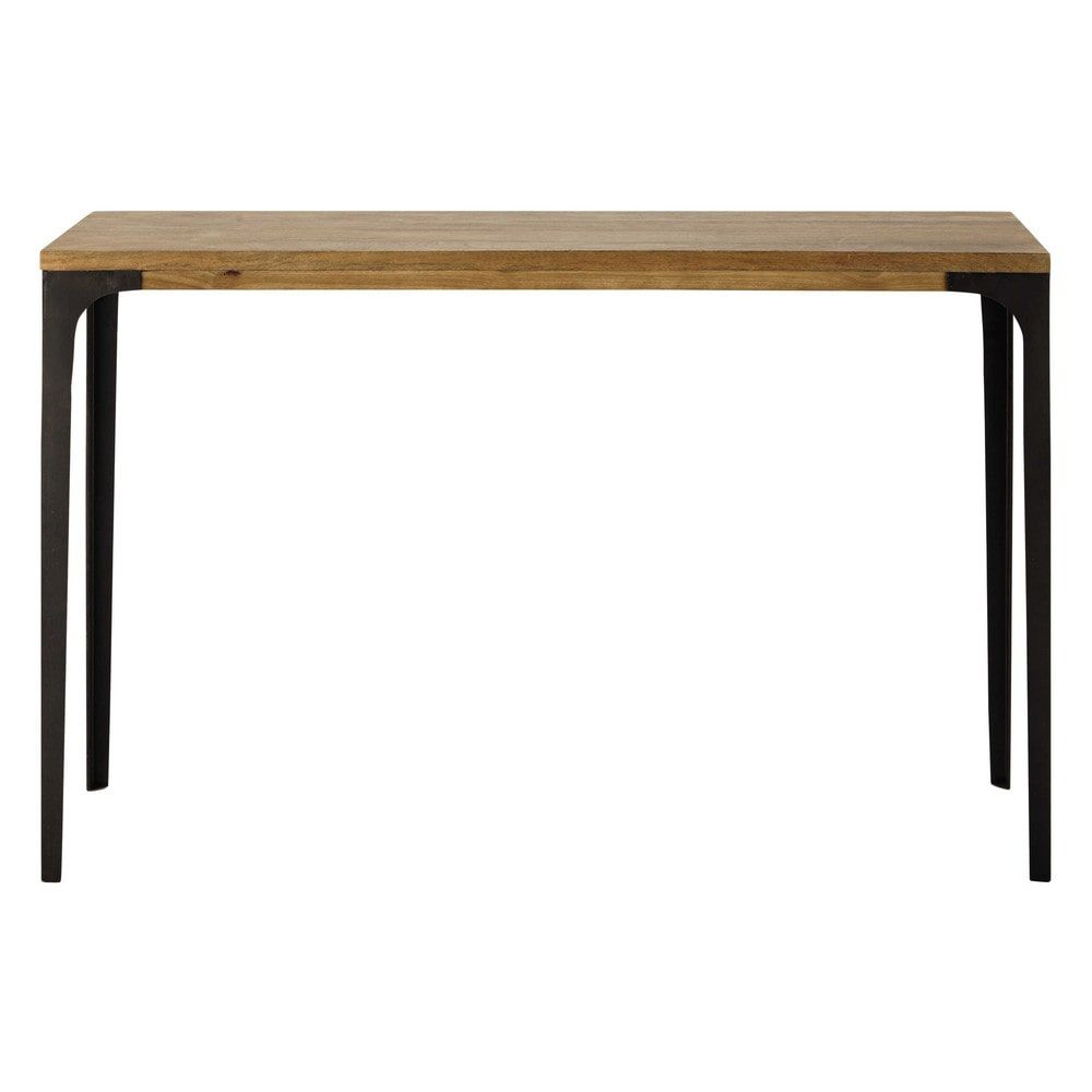 table console en m tal et manguier massif l 120 cm. Black Bedroom Furniture Sets. Home Design Ideas