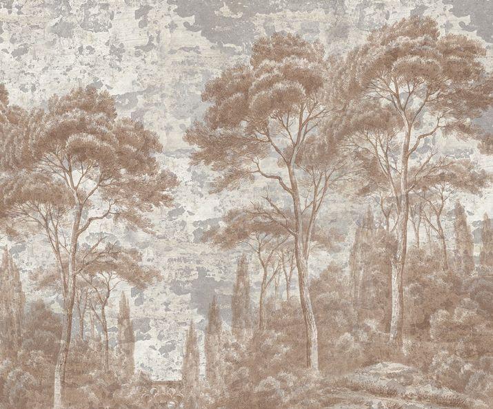 Pins Et Cypres Sepia Patine Xviiieme Papier Peint Panoramique