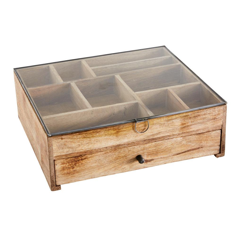 Boîte à bijoux en manguier et verreCoffret à bijoux - 37.5x13x33.5cm - MAISONS DU MONDE