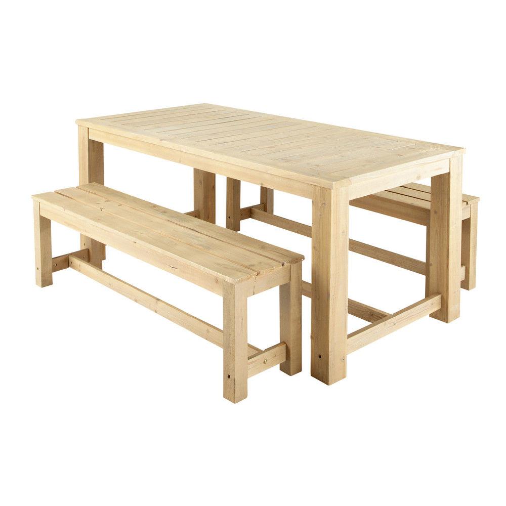 Table + 2 bancs de jardin en bois L 180 cm BrehatSalle à ...