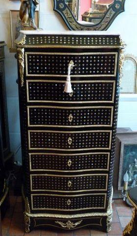 Art & Antiques - Secrétaire-Art & Antiques-Secrétaire droit Napoléon III marqueterie à la Rei