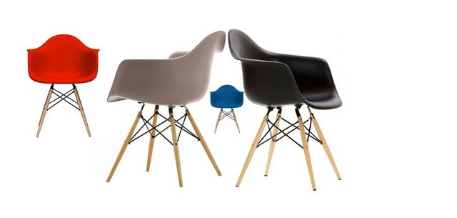 Charles & Ray Eames - Chaise réception-Charles & Ray Eames-Chaise EiffelL AW Noire Charles Eames Lot de 4