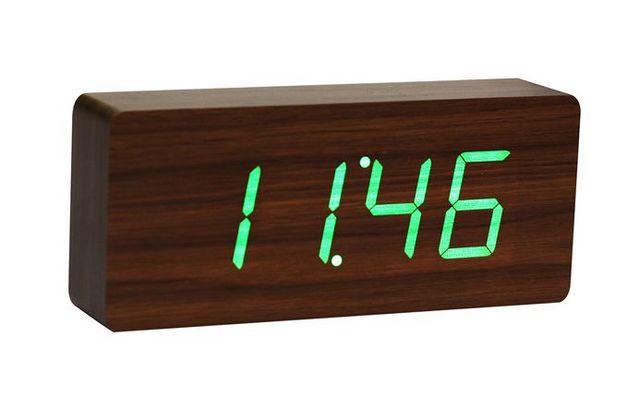 Gingko - Réveil matin-Gingko-Slab Walnut Click Clock / Green LED