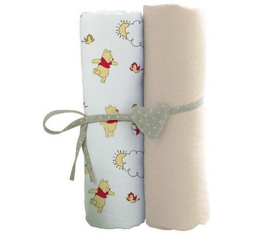 BABYCALIN - Parure de lit enfant-BABYCALIN-Lot de 2 draps housse - 60x120 cm - Winnie l'Ours