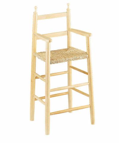 Aubry-Gaspard - Chaise haute enfant-Aubry-Gaspard-Chaise haute pour enfant en hêtre blanchi et rosea