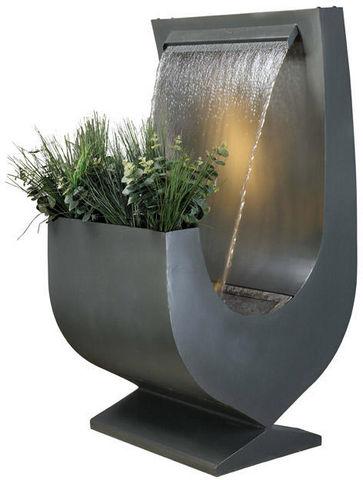 Cactose - Fontaine centrale d'extérieur-Cactose-Fontaine niagara grise en aluminium avec jardinièr