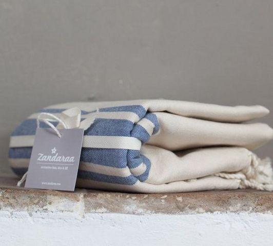 Zandaraa - Fouta serviette de hammam-Zandaraa-fouta plate sable et indigo