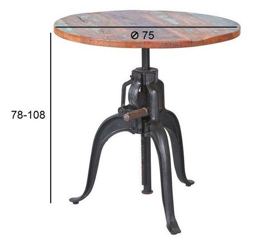 WHITE LABEL - Table bistrot-WHITE LABEL-Table cremaillere unique FUNDOS en bois de manguie