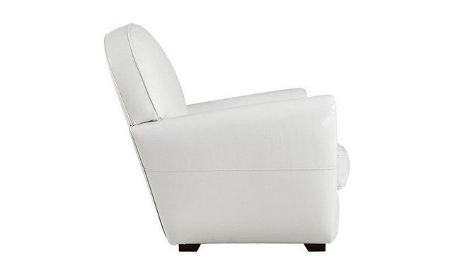 WHITE LABEL - Fauteuil club-WHITE LABEL-Fauteuil CLUB blanc en cuir recyclé. MADE IN ITALY