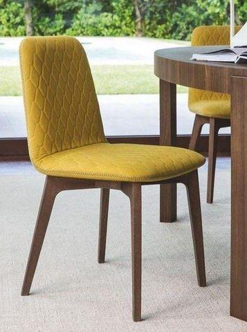 Calligaris - Chaise-Calligaris-Chaise SAMI en bois fumé et tissu jaune moutarde d