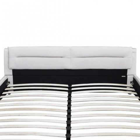 WHITE LABEL - Lit double-WHITE LABEL-Lit cuir 140 x 200 cm blanc et noir