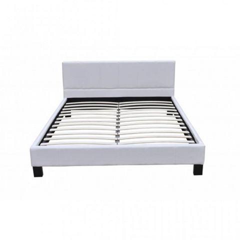 WHITE LABEL - Ensemble literie-WHITE LABEL-Lit cuir 140 x 200 cm blanc + matelas