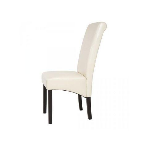 WHITE LABEL - Chaise-WHITE LABEL-4 chaises de salle à manger crème