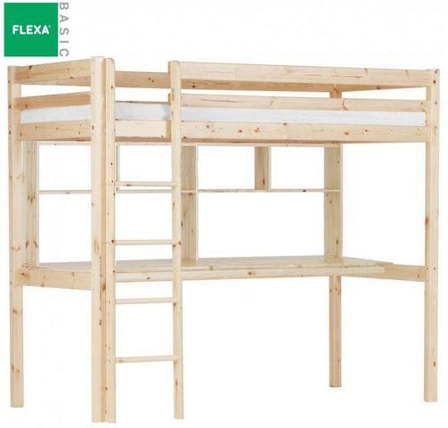 Flexa - Lit mezzanine-Flexa-Lit mezzanine FLEXA avec bureau et étagères en pin