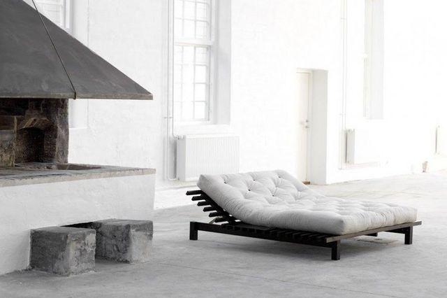 WHITE LABEL - Lit simple-WHITE LABEL-Cadre de lit  japonais BLUES wengé 180*200cm avec