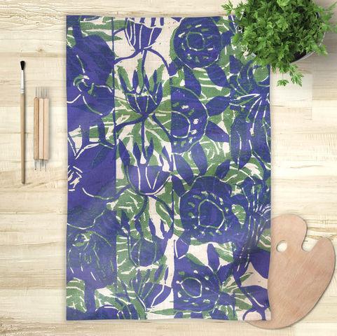 la Magie dans l'Image - Foulard Carré-la Magie dans l'Image-Foulard Végétal Bleu Vert