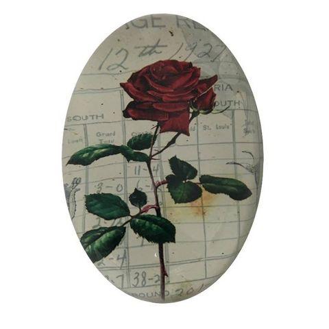 CHEMIN DE CAMPAGNE - Presse-papier-CHEMIN DE CAMPAGNE-Presse Papier Sulfure Ovale Bombé Motif Rose Rouge
