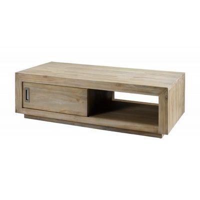 MEUBLES ZAGO - Meuble tv hi fi-MEUBLES ZAGO-Table basse rectangulaire teck lin Cosmopolitan