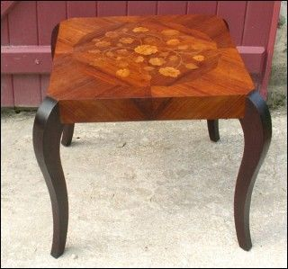 POULBENN - Bout de canapé-POULBENN-Table basse Bout de canapé marqueterie 1940-50