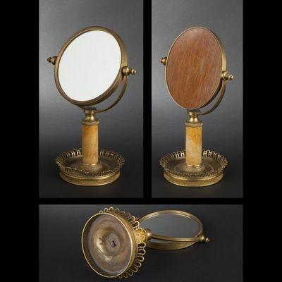 Expertissim - Miroir à poser-Expertissim-Miroir de table en bronze doré et marbre jaune de