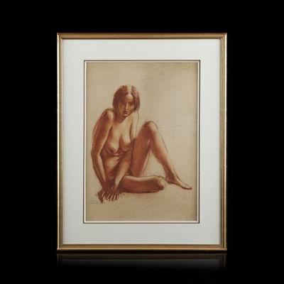 Expertissim - Dessin au fusain-Expertissim-Paul COLIN (1892-1985). Nu assis, 1928