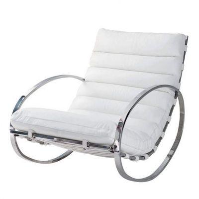 Maisons du monde - Rocking chair-Maisons du monde-Fauteuil � bascule cuir blanc Freud