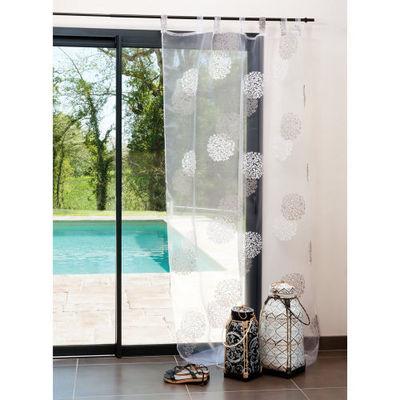 Maisons du monde - Rideaux à passants-Maisons du monde-Rideau Rosace blanc/gris