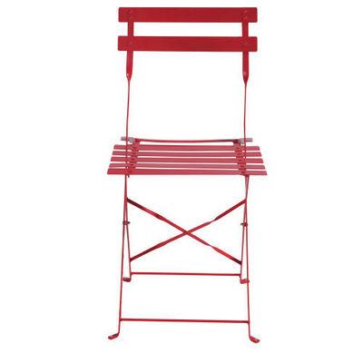 Maisons du monde - Chaise de jardin-Maisons du monde-Lot de 2 chaises rouges Guinguette