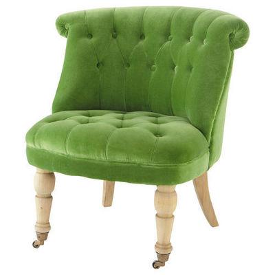 Maisons du monde - Fauteuil-Maisons du monde-Fauteuil velours vert Constantin