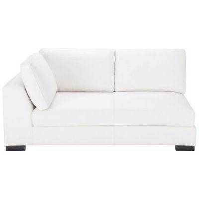 Maisons du monde - Canapé d'angle-Maisons du monde-Canapé manchot cuir gauche fixe blanc Terence