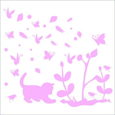LILI POUCE - Sticker D�cor adh�sif Enfant-LILI POUCE-Stickers chaton rose