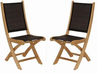Medicis - Chaise de jardin-Medicis-Chaises pliantes en teck et textilène noir (par 2)