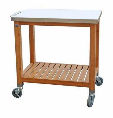 DM CREATION - Chariot porte-assiettes-DM CREATION-Desserte plancha en bambou et inox 80x50x83,5cm