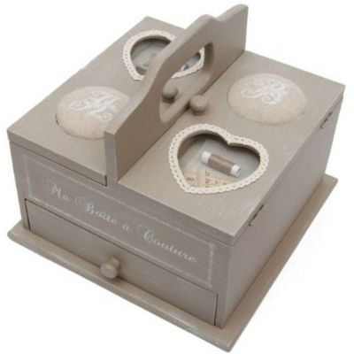 Antic Line Creations - Boite à couture-Antic Line Creations-Boîte à couture en bois eloïse 25x25x21,5cm