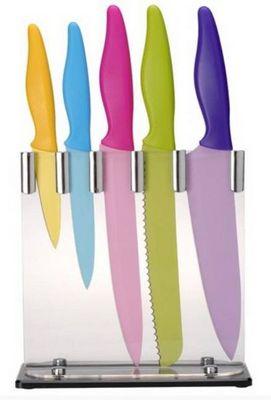 La Chaise Longue - Bloc couteaux-La Chaise Longue-Bloc de 5 couteaux en acier inoxydable couleurs ac