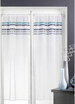 HOMEMAISON.COM - Voilage-HOMEMAISON.COM-Paire de voilages en étamine rayures horizontales