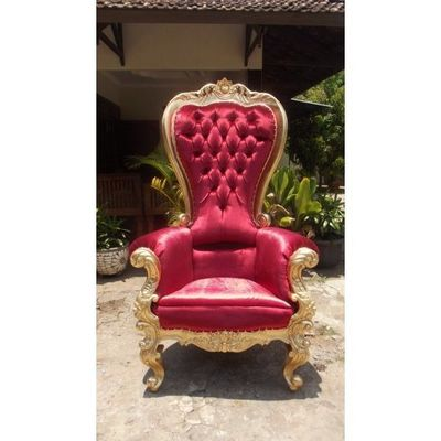 DECO PRIVE - Décor évènementiel-DECO PRIVE-Trone royal en velours rouge et bois dore