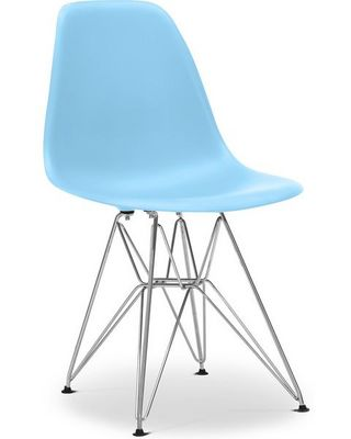 Charles & Ray Eames - Chaise réception-Charles & Ray Eames-Chaise bleu DSR Charles Eames Lot de 4