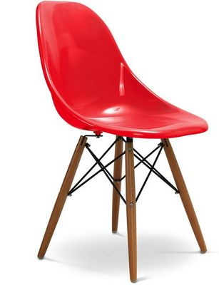 Charles & Ray Eames - Chaise r�ception-Charles & Ray Eames-Chaise rouge design Eiffel SW Charles Eames Lot de