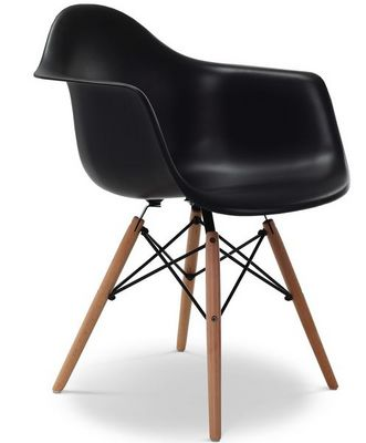 Charles & Ray Eames - Chaise r�ception-Charles & Ray Eames-Chaise EiffelL AW Noire Charles Eames Lot de 4