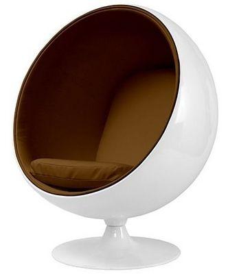 Eero Aarnio - Fauteuil et pouf-Eero Aarnio-Fauteuil Ballon Aarnio coque blanche interieur mar